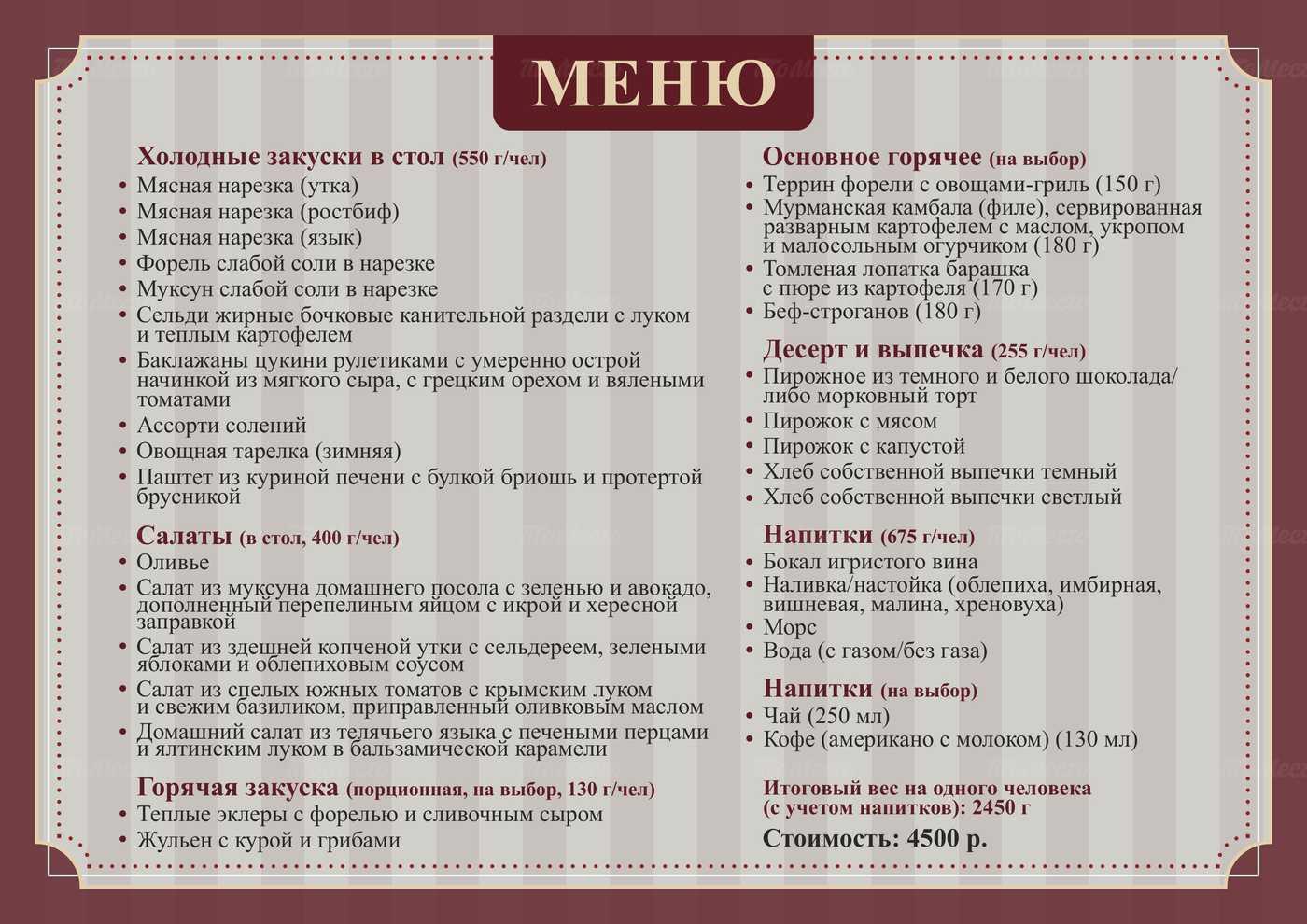 Банкетное меню ресторана Чеховъ на Петропавловской улице фото 4