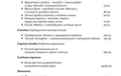 Банкетное меню ресторана Вместе на Ленинском проспекте фото 3