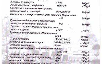 Банкетное меню ресторана Прохлада на проспекте Масленникова фото 1