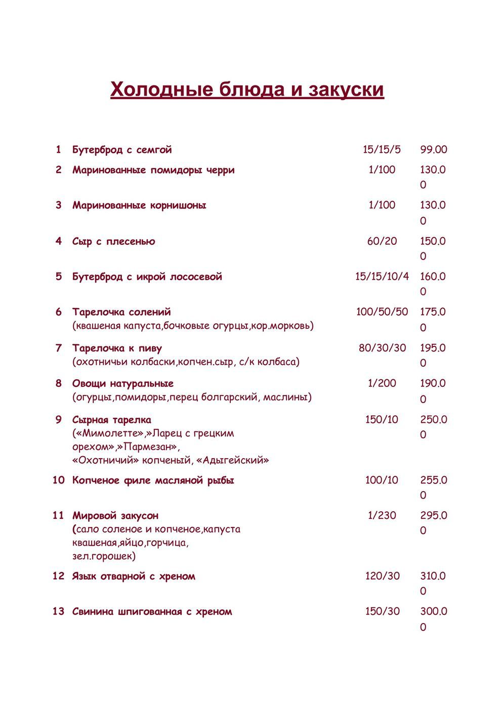 Меню кафе Мельба на улице Кирова фото 1