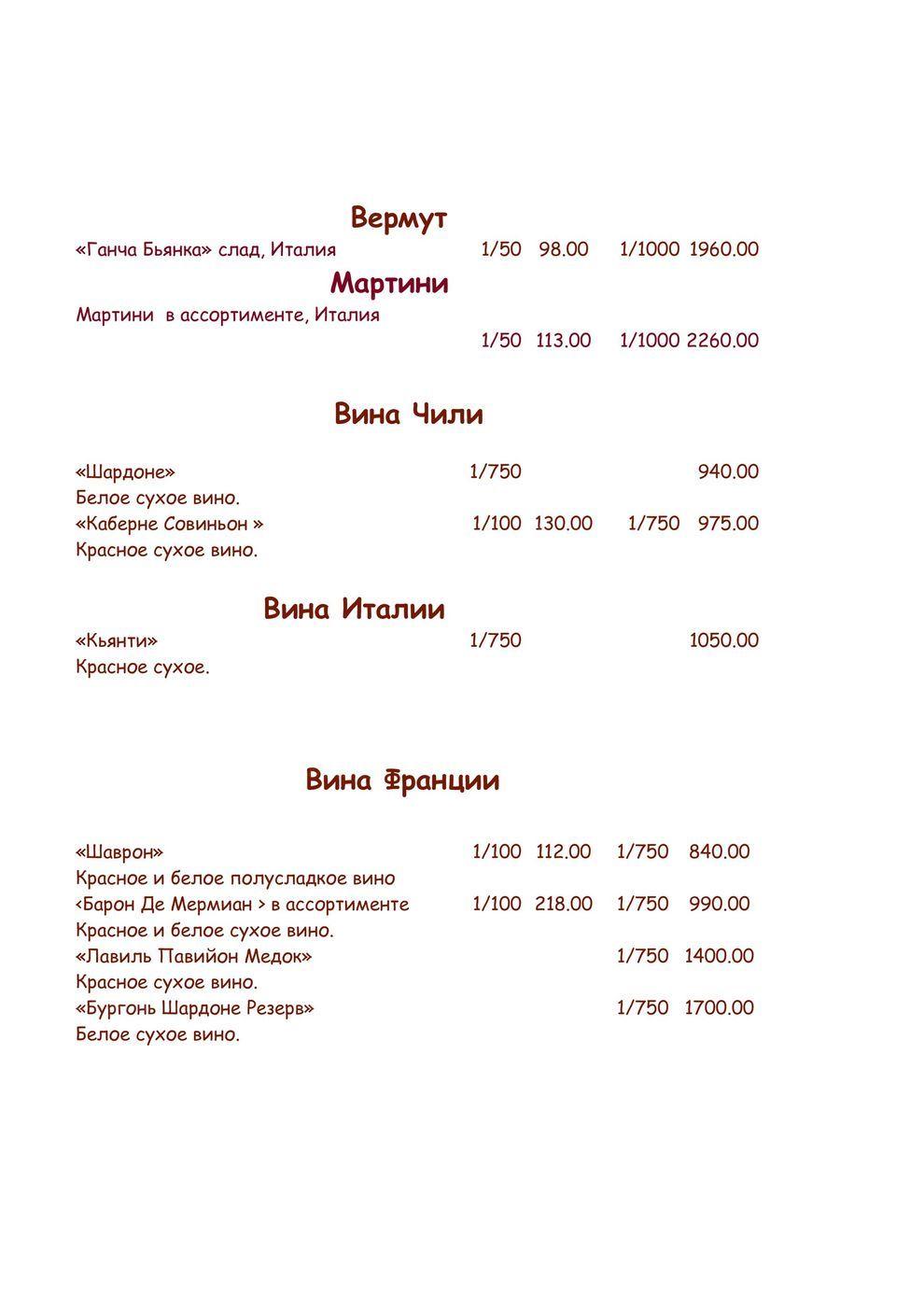 Меню кафе Мельба на улице Кирова фото 22