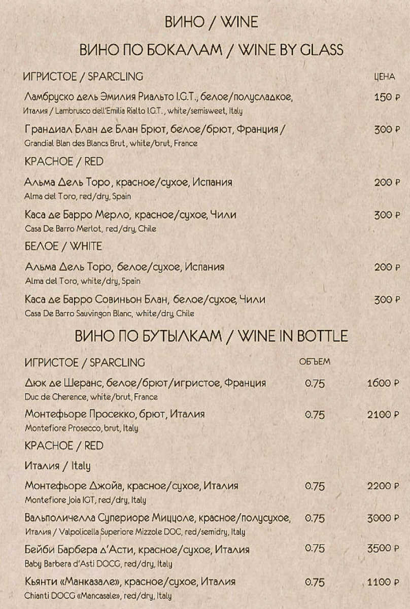 Меню ресторана Bistronomika на Невском проспекте