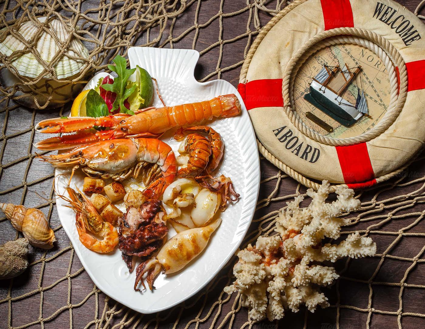 американским меркам меню рыбного ресторана с фото гласит, что