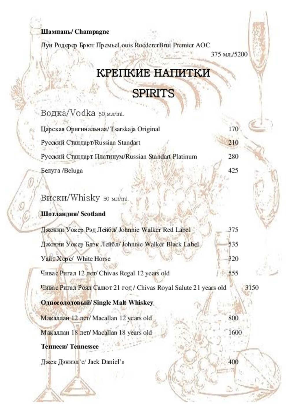 Меню ресторана Сосны на 1-ой линии Хорошевского Серебряного бора фото 16