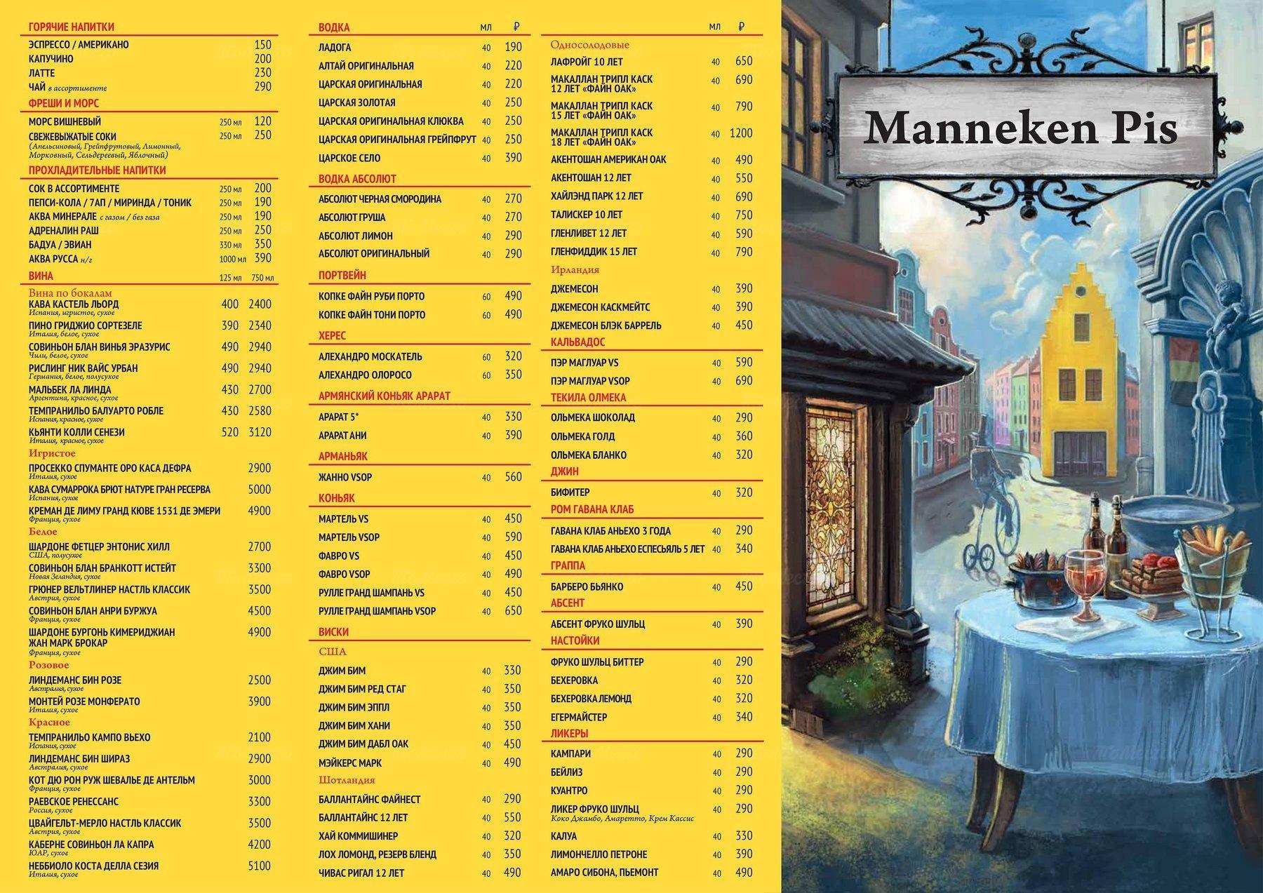 Меню паба Manneken Pis (Маннекен Пис) на Петровке фото 2