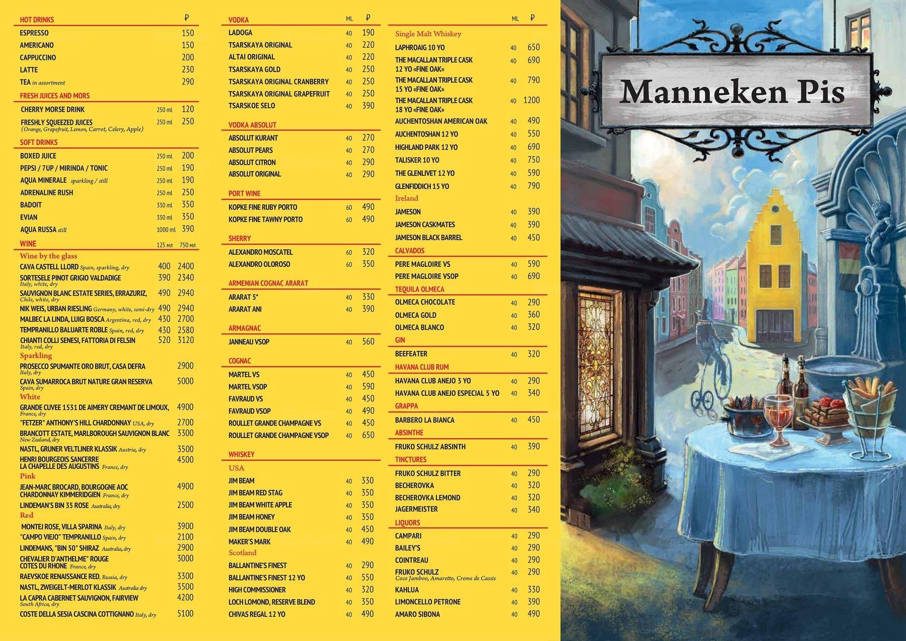 Меню паба Manneken Pis (Маннекен Пис) на Петровке фото 4