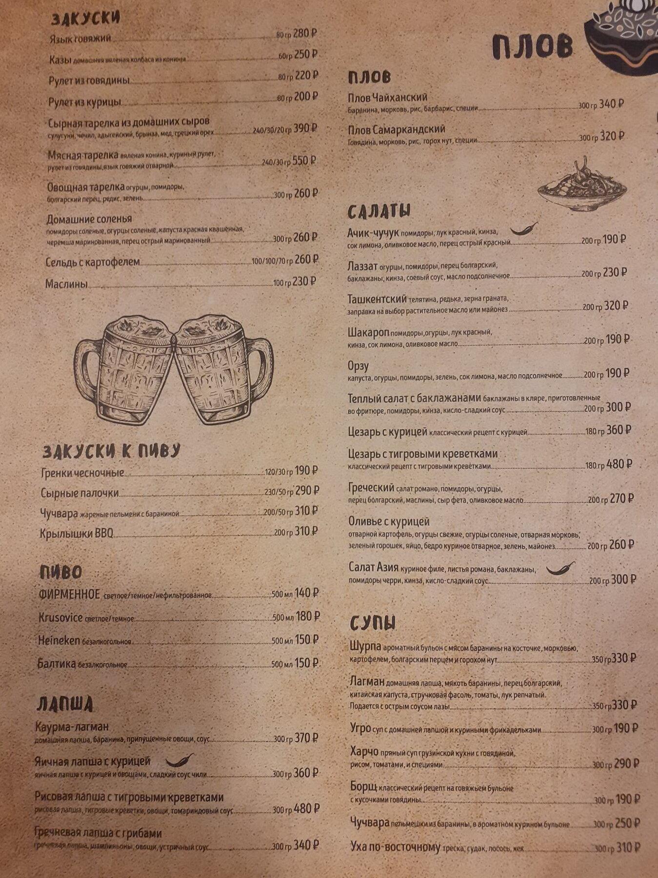 Меню кафе Плов Поинт (Плов.Point) на Салтыковской фото 1